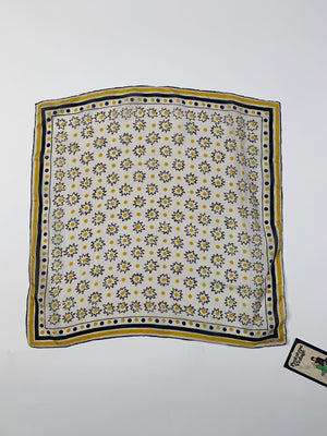 50's Vera Yellow & Black Spotted Silk Scarf