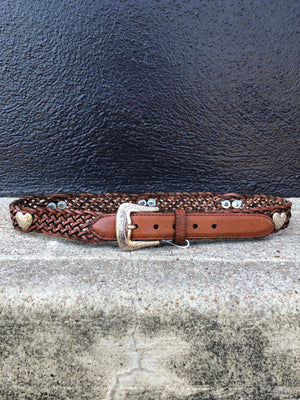 Braided Leather Heart Stud Belt - S