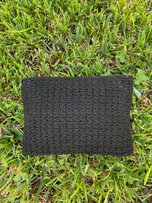 Black Woven Clutch w/ Acrylic Detail