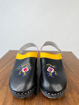Swedish Black Floral Clogs