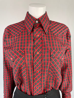 Wrangler Plaid Dagger Collar Pearl Snap