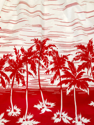 80's Red & White Tropical Dress - M