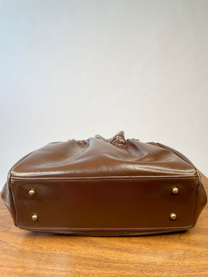 1960's Brown Vinyl Cinch Handbag