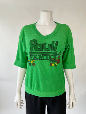 Green Terry Pauli Family Pullover