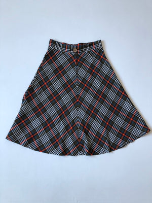 70's Olive Orange Plaid Skirt