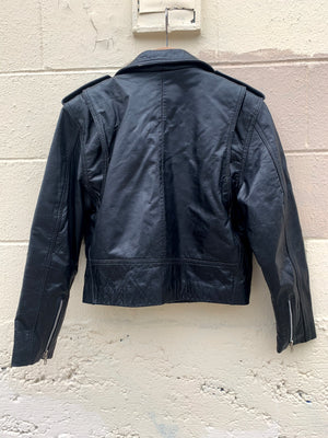 Classic Cropped Leather Motorcycle Jacket - L