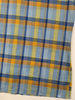 Blue & Yellow Plaid Button Up - L