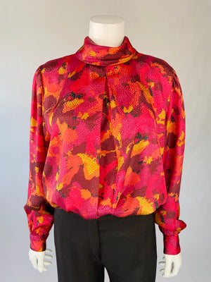 1980's Shiny Balloon Sleeve Blouse