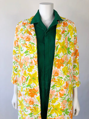 Yellow & Peach Floral Top Coat