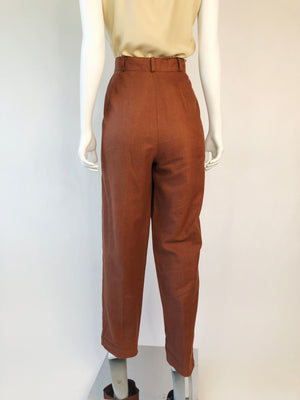 1980's Linen & Cotton Pleated Slacks