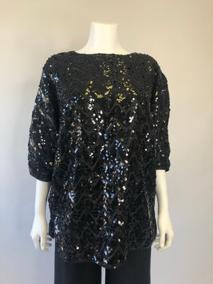 Black Sequin Bat-Wing Blouse