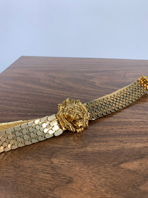 Gold Mesh Lion Head Belt