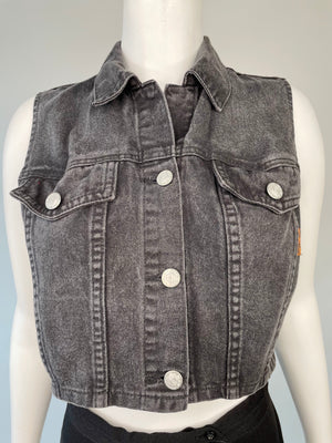 1990's Black Cropped Denim Vest