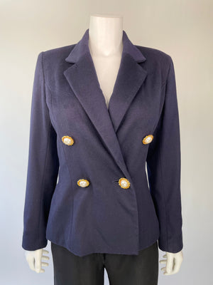 Albert Nipon Nautical Fitted Wool Blazer