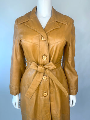 Long Tan Leather Trench w/ Chevron Pattern
