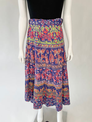 Navy Blue Indian Cotton Wrap Skirt