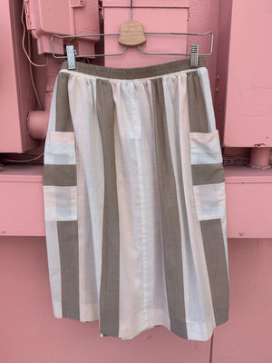 80's Striped Skirt w/ Pockets