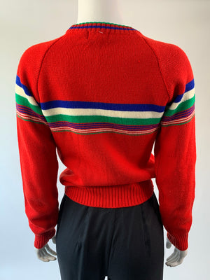 Red Knit Striped 80's Sweater