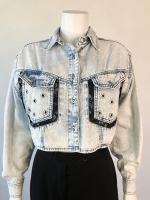 90's Pierced Lace Denim Jacket