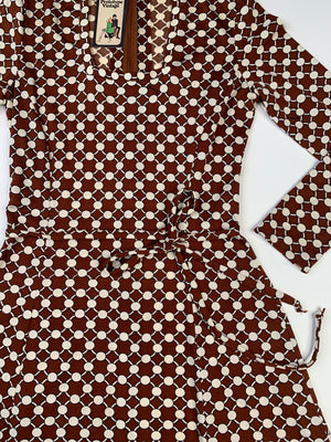70's Brown Polka Dot Dress - M