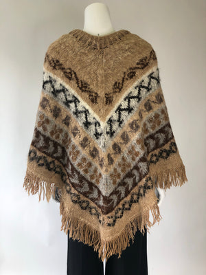 Super Soft Brown Knit Chevron Poncho