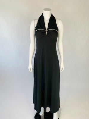Black 70's Maxi Dress w/ Wide Rhinestone Collar