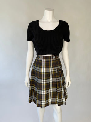 Brown Plaid School Girl Pleated Skirt