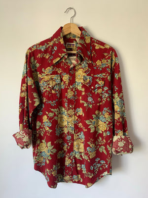 Amazing Floral 70's Pearl Snap - L
