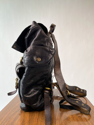 Black Leather Backpack w/ Brass Hardware