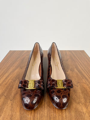 Mock-Croc Ferragamo Bow Pumps