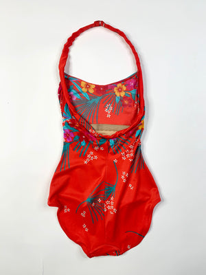 Early 80's Tropical Swimsuit w/ Coverup - XS