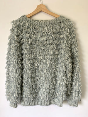 Awesome Dove Grey Fuzzy Sweater - M