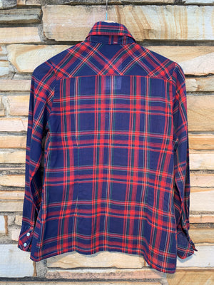 Red & Navy Plaid Pearl Snap - S