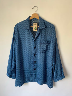 Navy Silk Print PJ Top - L