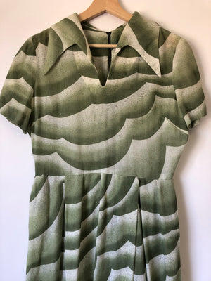 60's Green Cloud Midi Dress - L