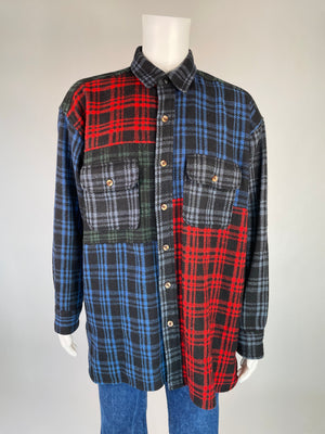 1990's Plaid Patchwork Wool Shirt Jacket