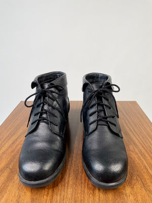 Black 90's Lace-Up Ankle Boots