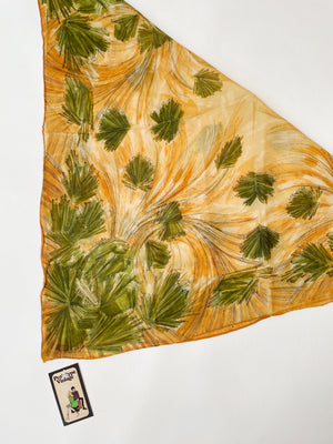 Orange & Olive Abstract Floral Scarf