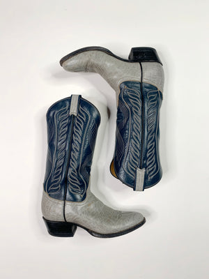 Navy & Gray Cowboy Boots - 9.5 Women's
