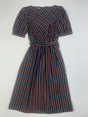 80's Striped Puff Sleeve Dress - S