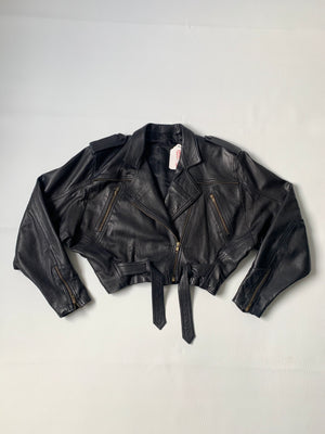 Black Leather Motorcycle Jacket - S/M