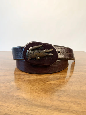 Lacoste Brown Crocodile Buckle Belt