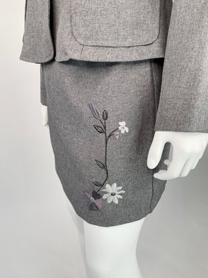 Y2K Grey Skirt Suit Set