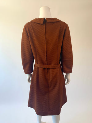 Chocolate Brown Double-Knit Mid-Century Dress