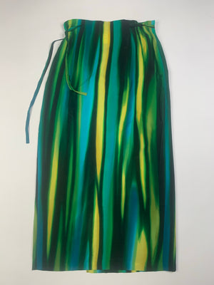 Colorful Striped Silk Maxi Skirt