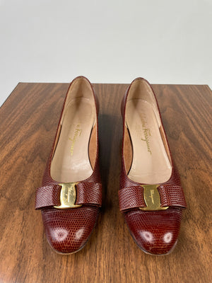 Lizard-Stamped Leather Ferragamo Pumps