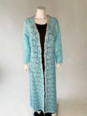 1960's Flower Power Open-Work Duster