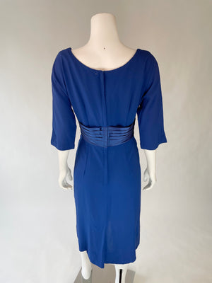 Royal Blue Mid-Century Dress w/ Satin Waist