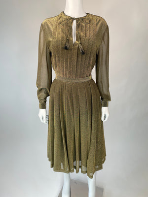 1970's Sheer Golden Two-Piece Skirt Set