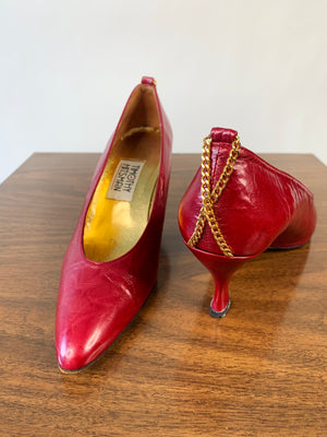 Oxblood Leather Pumps w/ Chain Detail